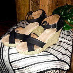 TOMS Black Wedge Sandal- Size W8